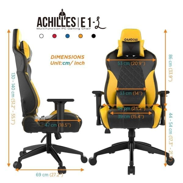 GAMDIAS Multi-Color RGB Gaming Chair High Back Headrest and Lumbar, Black/Yellow (Achilles E1 Black/Yellow)