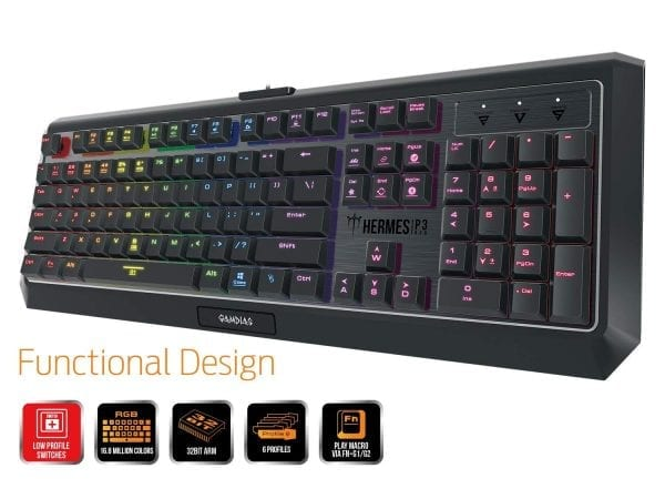 GAMDIAS Hermes P3 RGB Gaming Keyboard Low Profile Mechanical Switch with blue switch, N-key rollover (Hermes P3)
