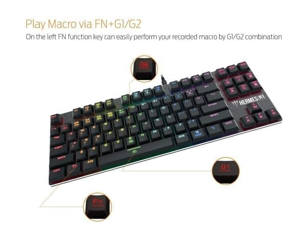 GAMDIAS Hermes M3 RGB Gaming Keyboard Low Profile Mechanical Switch with blue switch, N-key rollover (Hermes M3)
