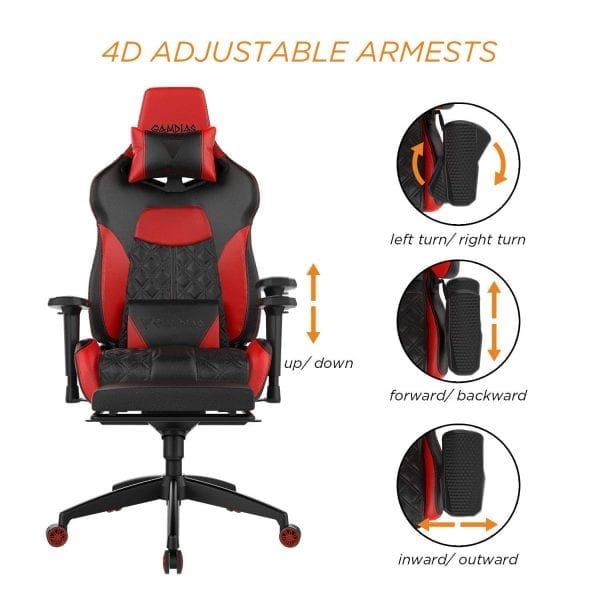 GAMDIAS Multi-Color RGB Gaming Chair High Back with Footrest Adjusting Headrest and Lumbar Support, Black/Red (Achilles P1 Black/Red)