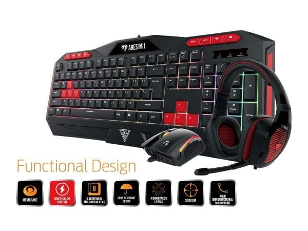 GAMDIAS Poseidon M1 Gaming Combo, Ares M1 Membrane Keyboard with Zeus E2 optical Mouse and Eros E1 Headset (Poseidon M1)