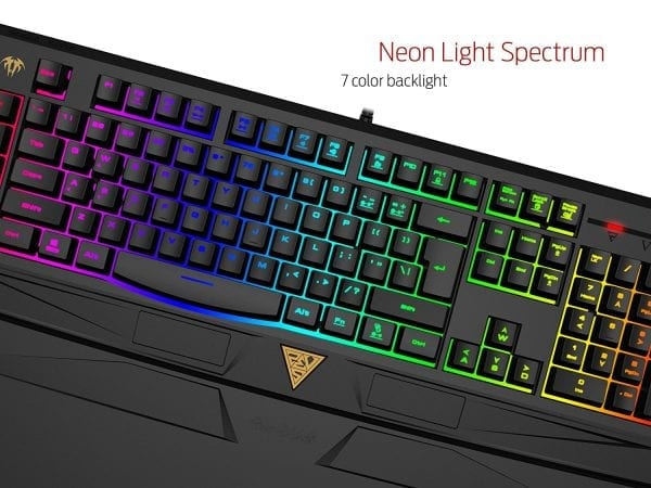 GAMDIAS ARES 7 Color Backlit RGB Membrane Gaming Combo with (OTF) Macro Recording, OUREA Optical Mouse 4000 DPI, Weight Tuning System (GKC6011)