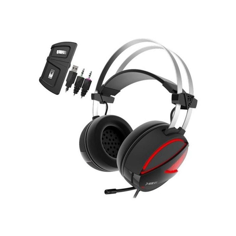 GAMDIAS Gaming Headset with USB/3 5mm Jack, 40mm Drivers, In-line Remote  and RGB Lighting (HEBE E1)