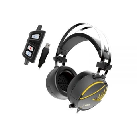 GAMDIAS Gaming Headset with 7.1 Virtual Surround Sound, Inline Remote, RGB Lighting & USB Extension Jack (HEBE M1)