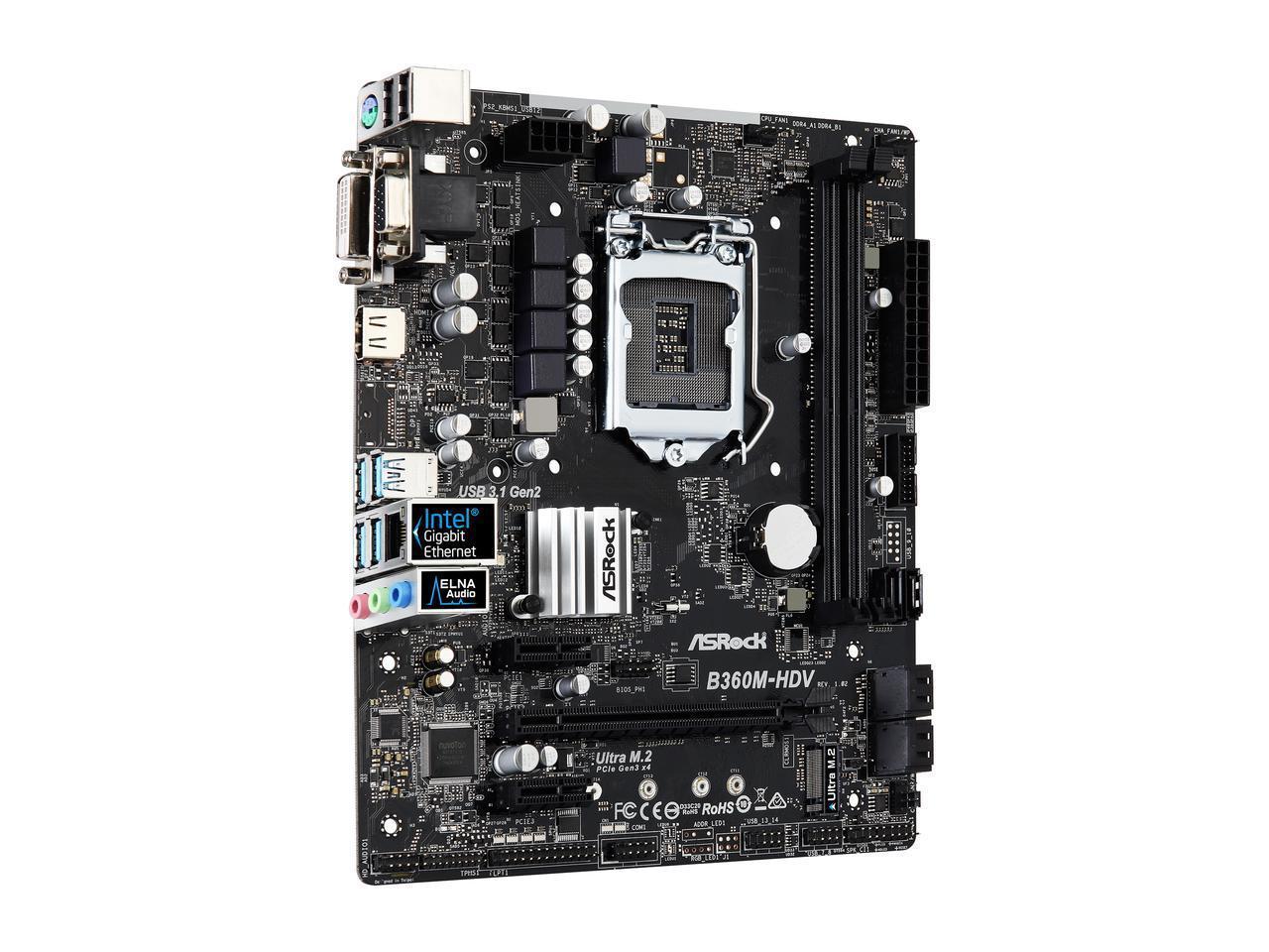 ASRock B360M-HDV LGA 1151 (300 Series) Intel B360 HDMI SATA 6Gb/s USB 3 1  Micro ATX Intel Motherboard